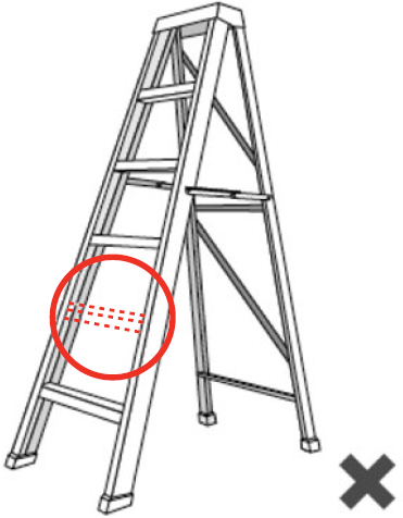 Illustration of a ladder with a missing step.
