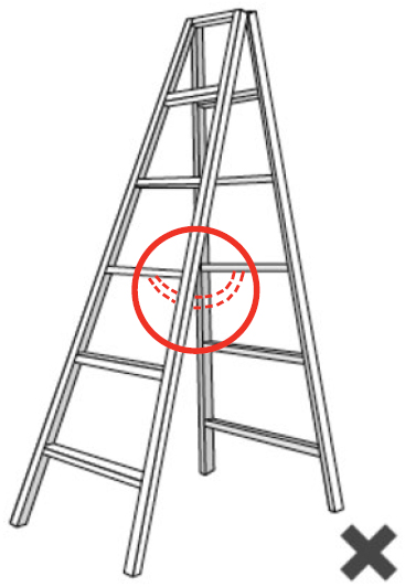 Illustration of a ladder that does NOT have a locking mechanism.