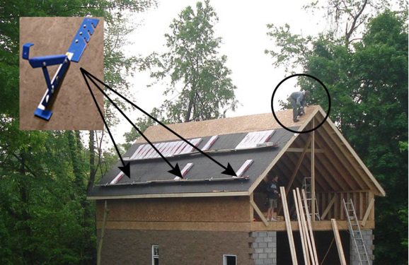 Figure 3. Left – Typical roof construction, using roof jacks (inset, upper left) for