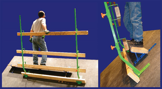 Figure 6. Two views of slide guard base set-up, equipped
