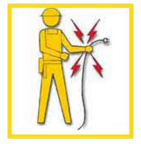 Pictogram of a worker holding an energized wire