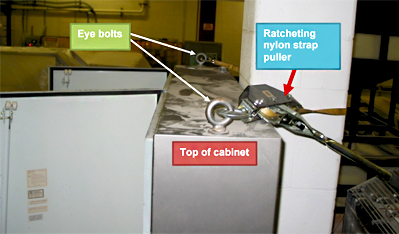 recommendation 4 picture where the top of the cabinet is stabilitzed by a column and ratcheting straps