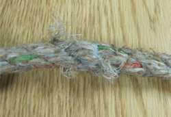 Photo 4- frayed fibers in laborer's lifeline