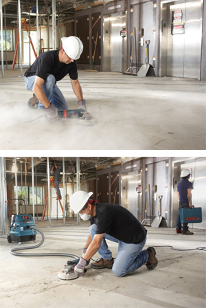 Picture of a man using a silica sander without a face mask, and without vacuum device, followed by another photo of a man wearing the appropriate mask, and using a tool with a vacuum device.