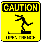 Caution- open trench