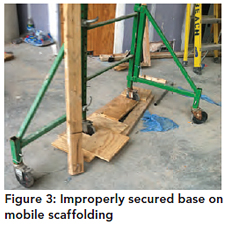 Figure 3: Improperly secured base on mobile scaffolding