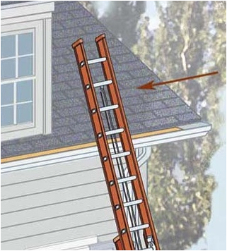 ladder extending over roof