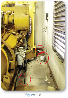 debris and liquids around the generator- photo