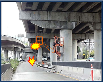 Incident scene showing the exit ramp under the bridge and 