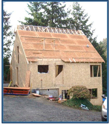 Incident scene showing the two-story residential 