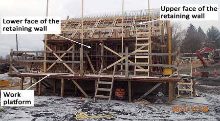 Photo 2. Completed buttress formwork on the morning of the incident.